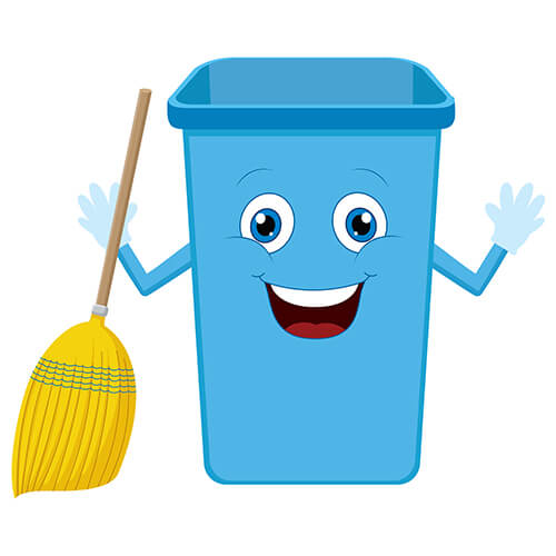 Cartoon Rubish Bin With Smiling Face