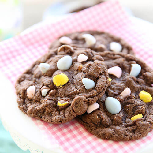 Double Chocolate Cookies With Mini Eggs