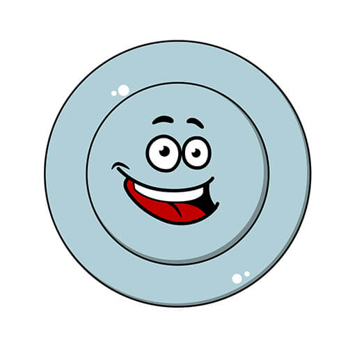 Cartoon Clean Plate With Smiling Face