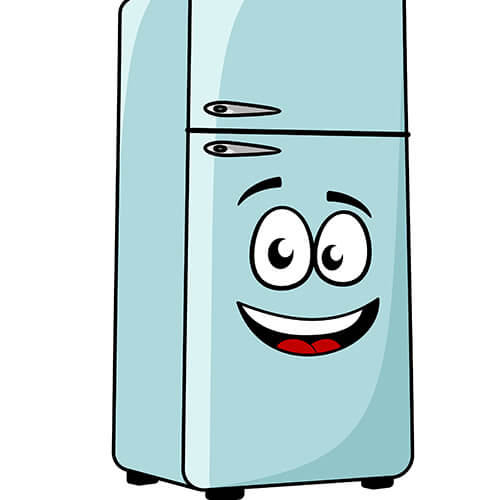 Cartoon Fridge With Smiling Face