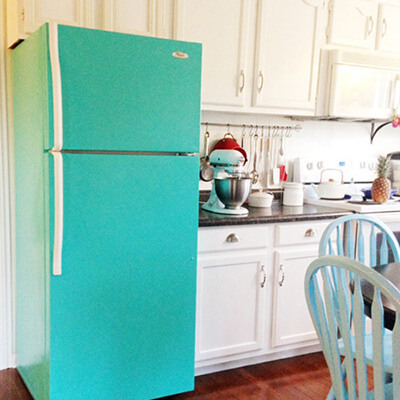 Fridge In Kitchen Painted Green