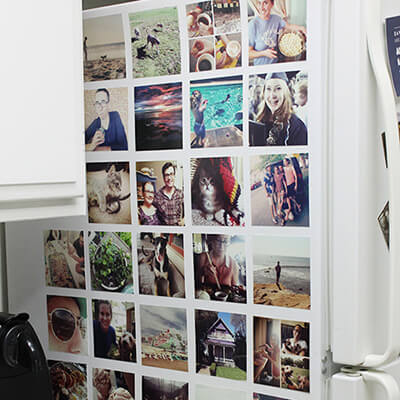 Fridge With One Side Full Of Colourful Photos
