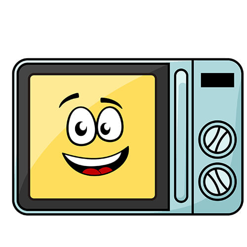 Cartoon Microwave With Smiling Face