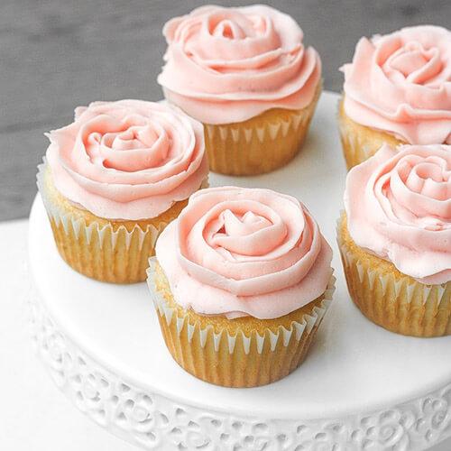 Vanilla Cupcakes With Pink Rose Petal Icing