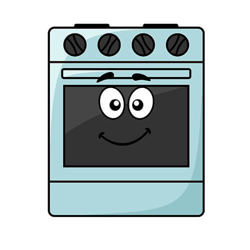 Cartoon Oven With Smiling Face