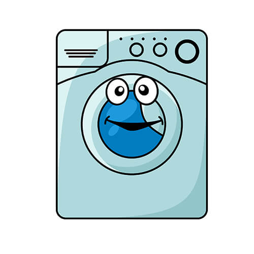 Cartoon Washing Machine With Smiling Face