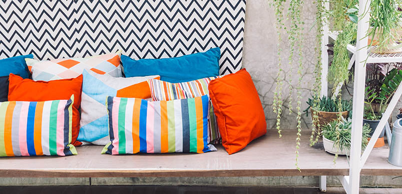 Patio Deck With Colourful Pillows
