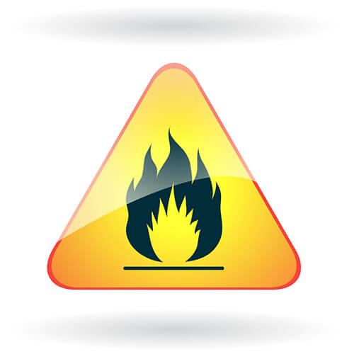 Hazard Sign With Flame
