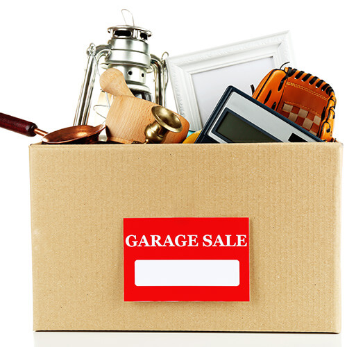 Box Of Unwanted Items For Garage Sale