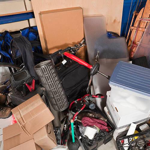 Garage Full Of Storage Clutter