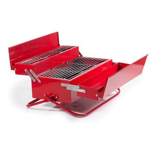 Red Toolbox Folded Out To BBQ