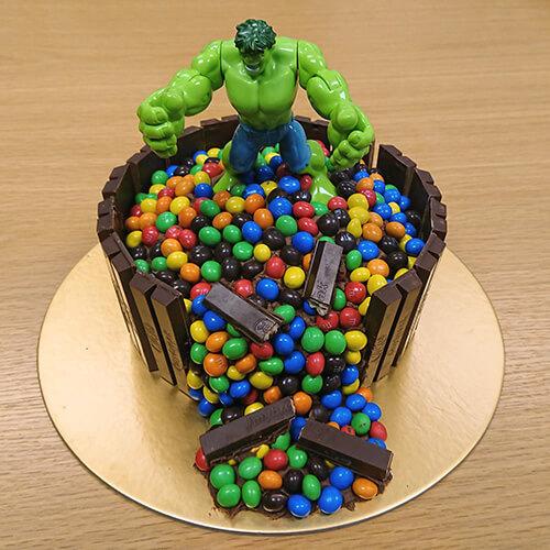 Chocolate Cake With Hulk And M&M's