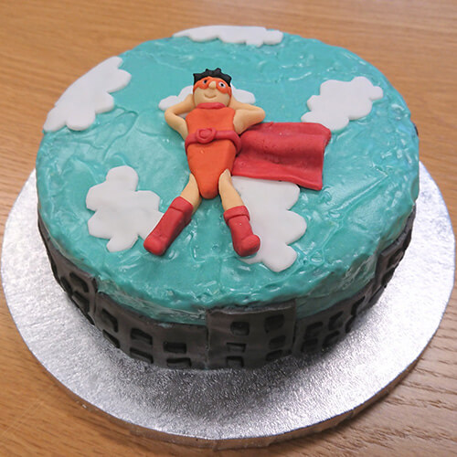 Blue Cake With 3D Superhero
