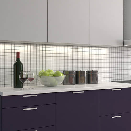 Kitchen Interior With Painted Purple Cupboards