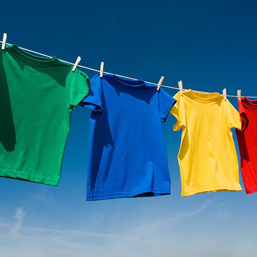 Coloured T-Shirts On Washing Line