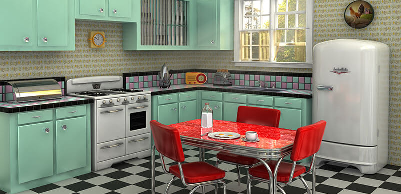 Vintage Kitchen With Turquoise Colour Scheme