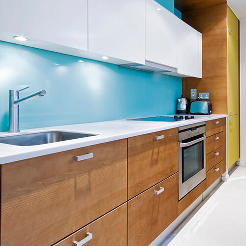 Kitchen With Wall Painted Light Blue