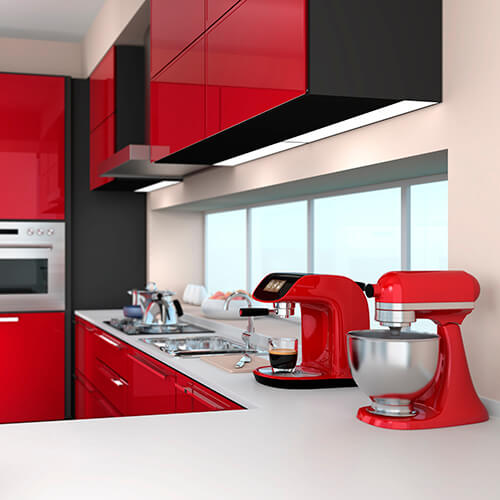 Red Coffee Machine And Food Mixer
