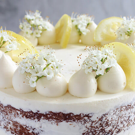 Lemon And Elderflower Cake With White Icing