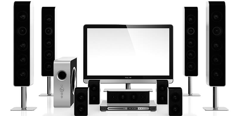 TV Surrounded By Speakers