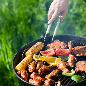 BBQ With Food In Garden
