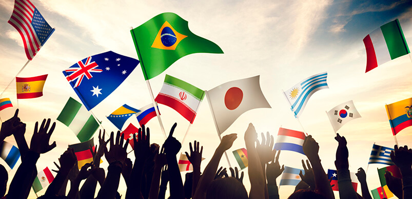 Group of People Waving Flags Of The World