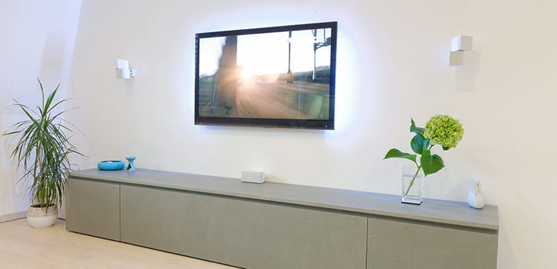 TV On Wall In Living Room