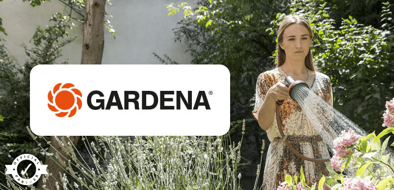 Woman Watering Garden With Gardena Logo