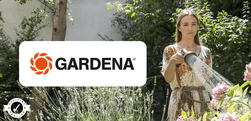 Woman Watering Garden With Gardena Logo