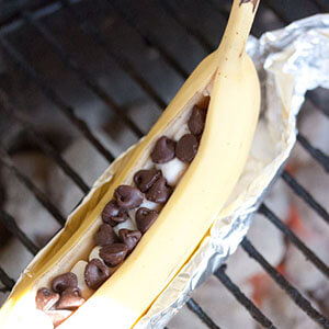 Chocolate And Marshmallow Stuffed BBQ Bananas