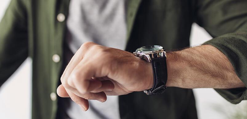 Man Checking Wrist Watch