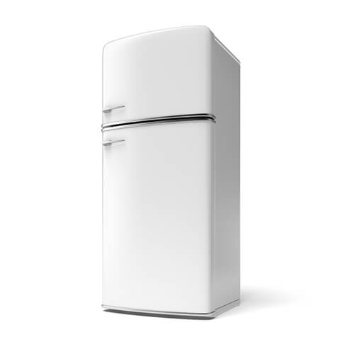White Fridge Freezer On White Background