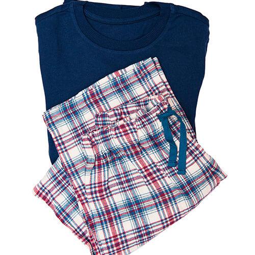 Checked Pajama Top And Bottoms