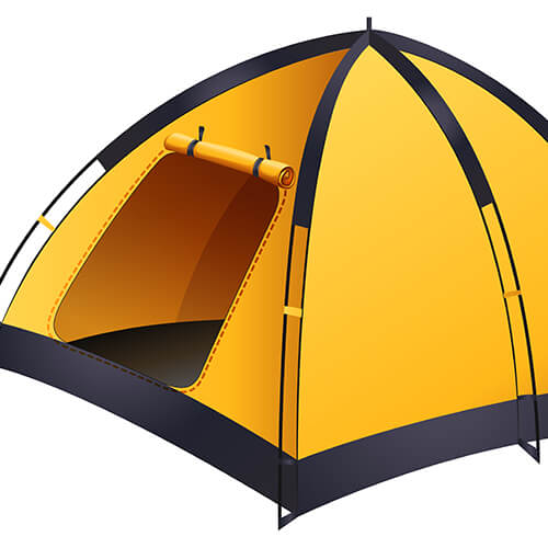 Yellow Camping Tent With Open Door
