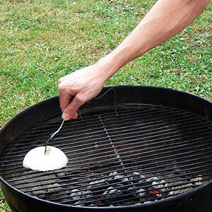 Person's Arm Cleaning BBQ With Onion