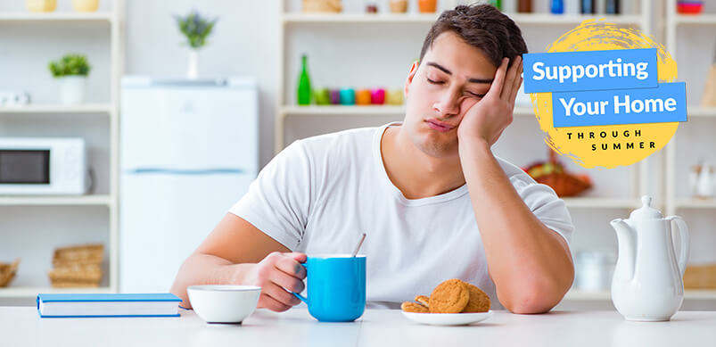 Man Falling Asleep Over Breakfast