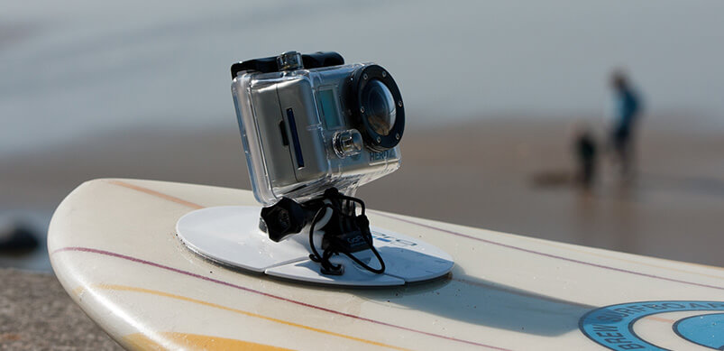 GoPro Attached To Front Of Surfboard