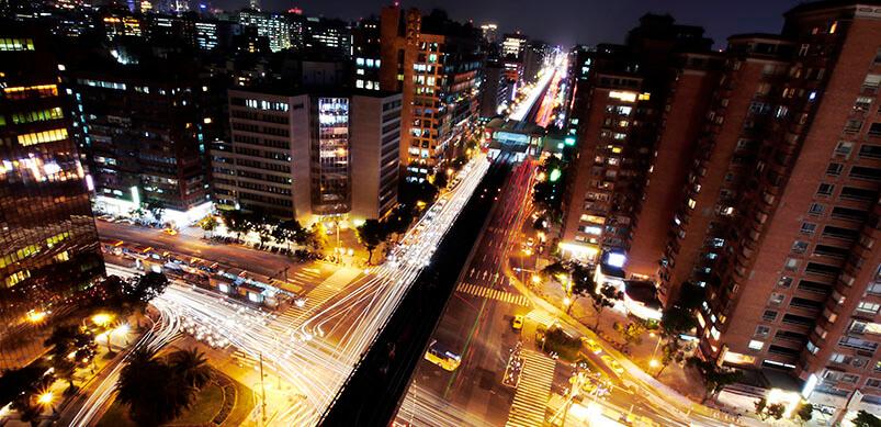 Rush Hour In City At Night