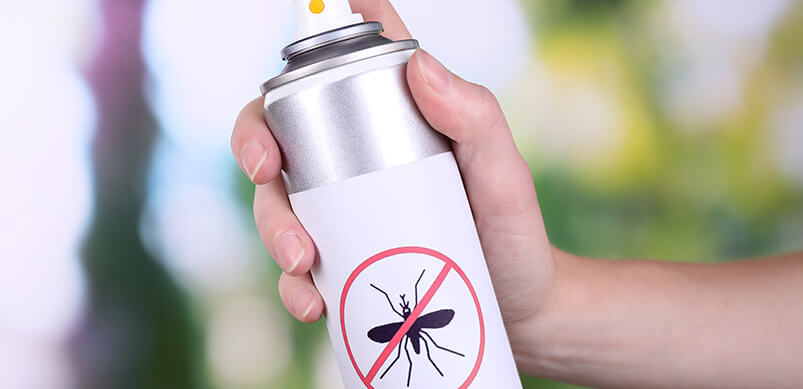 Hand Holding Mosquito Spray