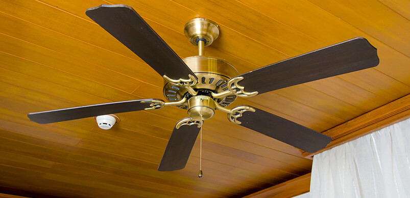 Ceiling Fan On Wooden Ceiling
