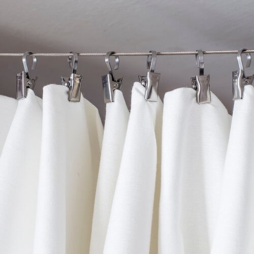 Shower Curtain Rail With White Curtain