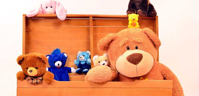 Wooden Chest Full Of Stuffed Animals