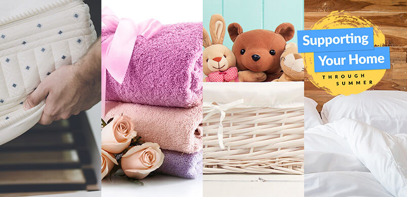 Collage Of Bedding, Mattress, Towels And Cuddly Toys