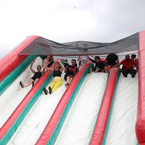 Espares Team On Inflatable Slide