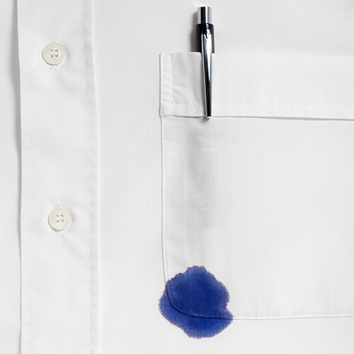 White Shirt With Pen And Ink Stain
