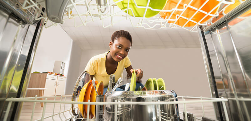 View Of Woman From Inside Dishwasher