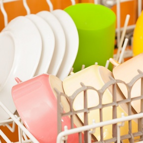 Dishwasher Rack With Colourful Dishes