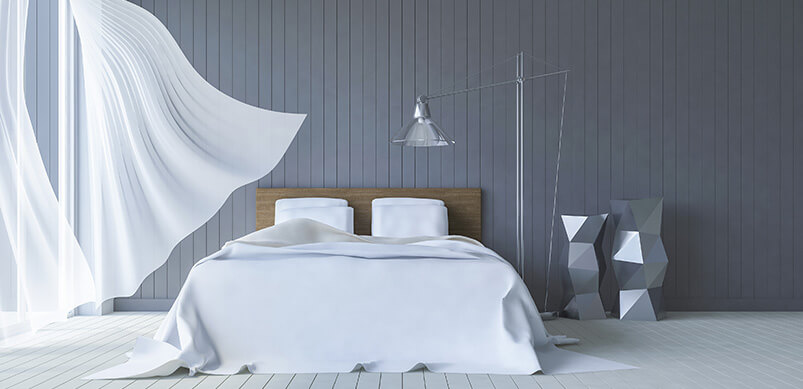 Bedroom With Curtain Blowing