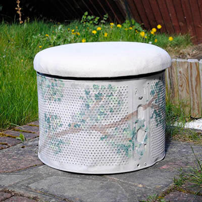 Footstool With Cushion Made From Washer Drum