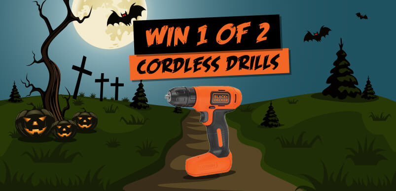 Halloween Themed Competition Banner With Black & Decker Drills